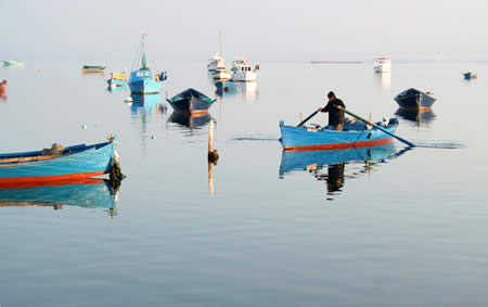 In S. Antioco harbour southern Sardinia, the fishermen stand when rowing