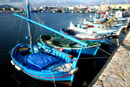 Wooden fishing boats commonly seen in Alghero